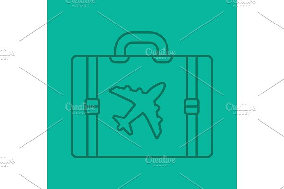 Travel Luggage Suitcase Color Linear Icon