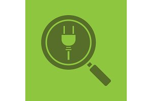 Magnifying glass with plug glyph color icon