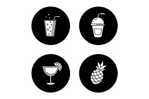Refreshing drinks icons set
