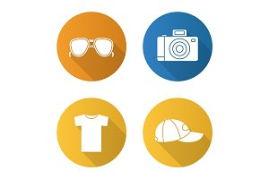 Summer items flat design long shadow icons set