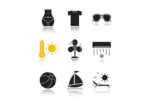 Summer drop shadow black icons set