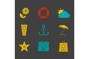 Summer glyph color icon set