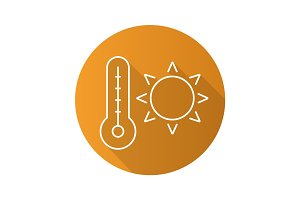 Summer heat flat linear long shadow icon