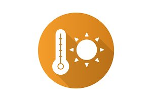 Summer heat flat design long shadow icon