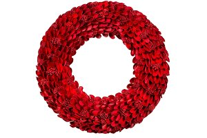 Bright Red Holiday Wreath on White