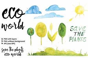 eco watercolor illustration