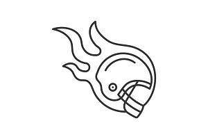 Burning rugby player's helmet linear icon