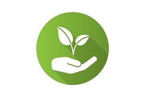 Eco care flat design long shadow icon