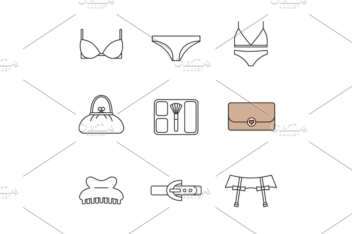 1c164de0d Women s accessories linear icons set ~ Icons ~ Creative Market