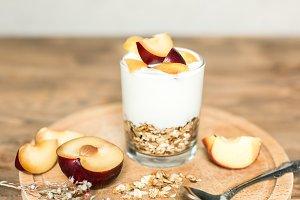 healthy breakfast: granola, cereal