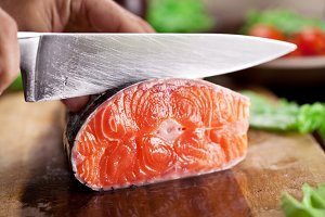 Fresh salmon. Cooking process.
