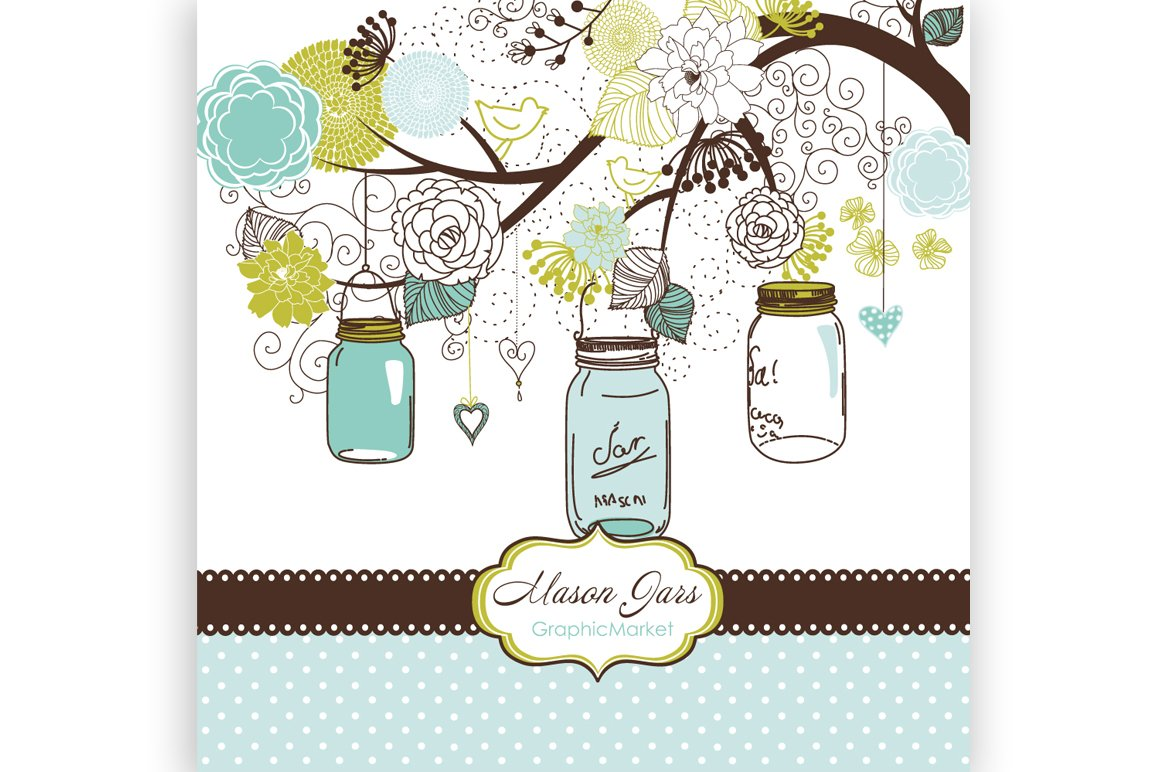 Mason Jars Clipart And Card Template Illustrations Creative Market
