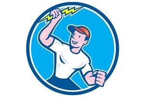 Electrician Holding Lightning Bolt C