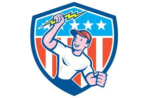 Electrician Lightning Bolt USA Flag
