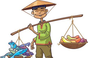 Asian Merchant with Fresh Fish and F