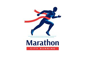 Running marathon logo or label. Runner with red ribbon. Vector flat symbol.