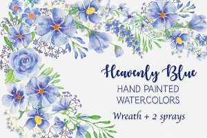 """Heavenly Blue"": watercolor wreath"
