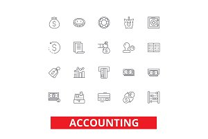 Accounting, business accountant, finance, bookkeeping, tax, audit, money line icons. Editable strokes. Flat design vector illustration symbol concept. Linear signs isolated on white background