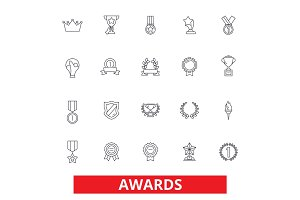 Awards, trophy, certificate, winner, ceremony, ribbon, medal, champion, prize line icons. Editable strokes. Flat design vector illustration symbol concept. Linear signs isolated on white background