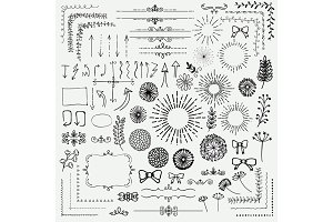 Vector Black Sketched Floral Rustic Design Elements