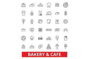 Bakery, cake, pastry, cookies, cafe, pie, chocolate, cooking, baking, dessert line icons. Editable strokes. Flat design vector illustration symbol concept. Linear signs isolated on white background