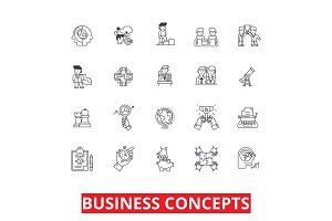 Business metaphor, meeting, ideas, conversations, team, management, strategy line icons. Editable strokes. Flat design vector illustration symbol concept. Linear signs isolated on white background