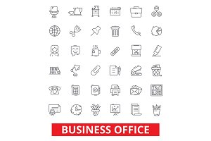 Business office, web, interface, email, calendar workplace, working, utensils line icons. Editable strokes. Flat design vector illustration symbol concept. Linear signs isolated on white background