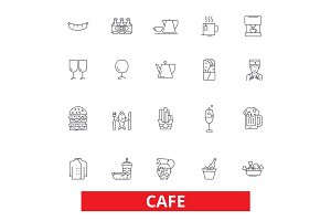 Cafe, coffee shop, street restaurant, cafeteria, lunch, dinner, eating, menu line icons. Editable strokes. Flat design vector illustration symbol concept. Linear signs isolated on white background