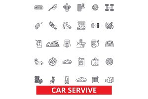 Car service, mechanic, engine, parts, wash, tires shop, engineer, auto center line icons. Editable strokes. Flat design vector illustration symbol concept. Linear signs isolated on white background