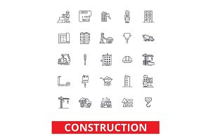 Construction, architecture, buildings, real estate, home repair, house, hvac line icons. Editable strokes. Flat design vector illustration symbol concept. Linear signs isolated on white background
