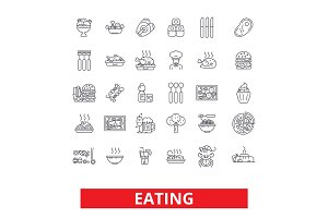 Eating food, restaurant menu, family cafe, tasting dinner, healthy dining, drink line icons. Editable strokes. Flat design vector illustration symbol concept. Linear signs isolated on white background