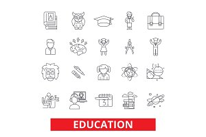 Education, online study, training, learning, webinar, school, university, course line icons. Editable strokes. Flat design vector illustration symbol concept. Linear signs isolated on white background