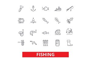Fishing boat, rod, yachting, hook, fish, fisherman, sea food line icons. Editable strokes. Flat design vector illustration symbol concept. Linear signs isolated on white background