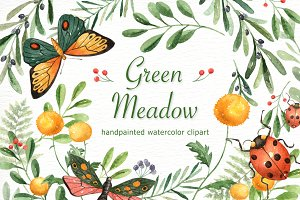 Green Meadow Watercolor clipart