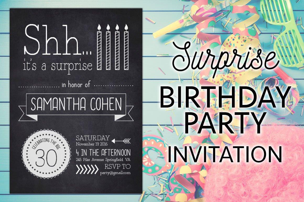 A Surprise Birthday Party Invite Invitation Templates