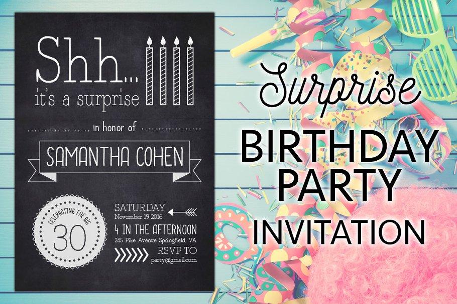 A Surprise Birthday Party Invite Invitation Templates Creative