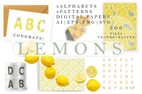 Lemons Alphabets Patterns Papers