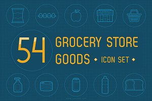 54 Grocery Store Goods - Icon Set