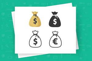 Money Bag Vector Icon Flat Line
