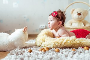 baby lying on a blanket and looking on a cat