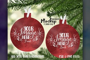 2 sided ball shaped ornament mockup