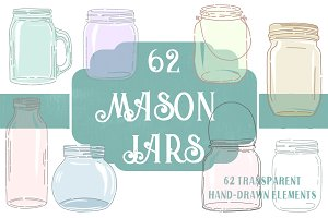 62 Hand-Drawn Mason & Ball Jars