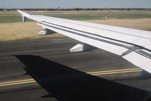 Airplane Wing During Takeoff