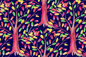 Watercolor tree seamless pattern