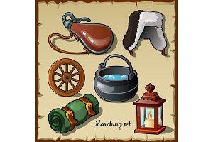 Travel set equipment, six camp items