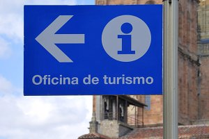 Tourist office sign in blue