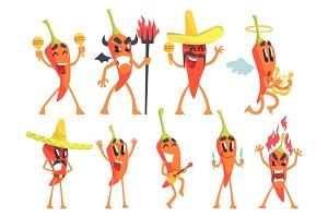 Chili Pepper Cartoon Character Emotion Illustrations Set