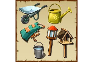 Garden tools and decorations