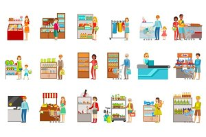 People Shopping In Department Store Set Of Illustrations
