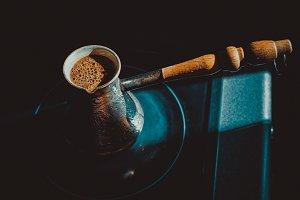 Coffee pot on a dark background